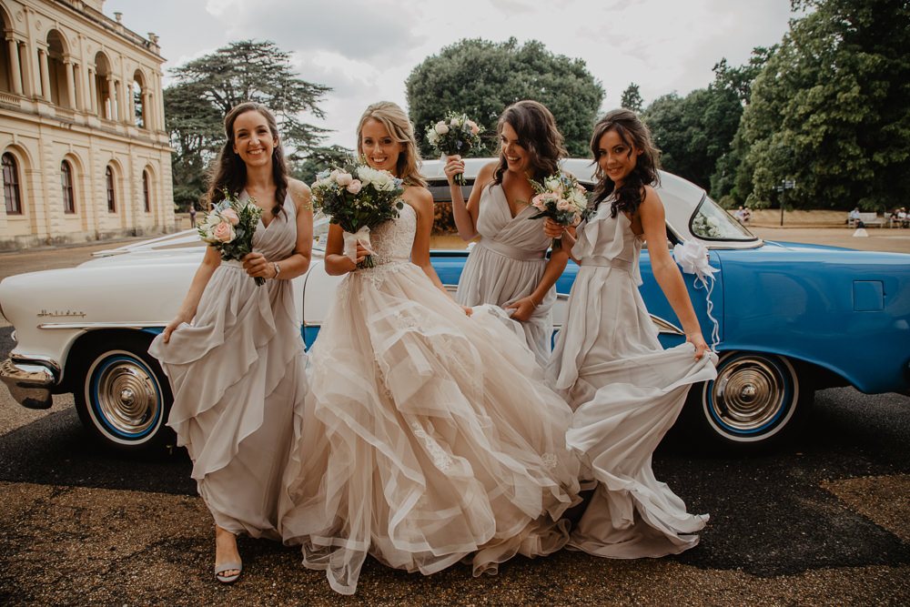 Osborne House Isle of Wight Natural Classic Bride Bridesmaids Blush Pastel Bouquets Blue Vintage Car | Timeless Royal Inspired Seaside Wedding Holly Cade Photography