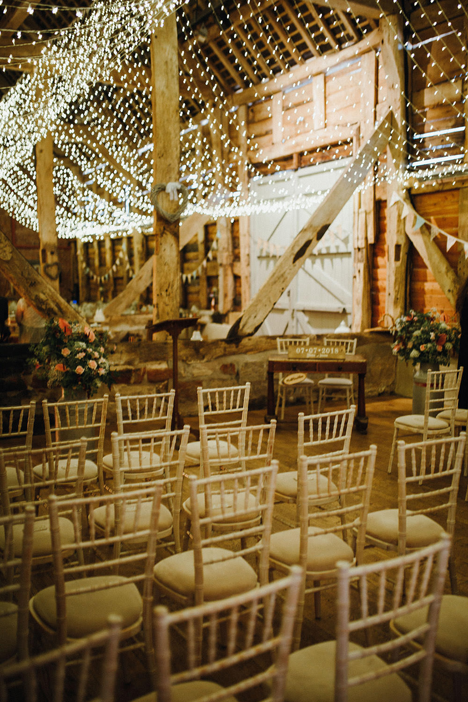 Fairy Lights Lighting Canopy String Ceiling Decor Ceremony Pimhill Barn Wedding Shrophire Leah Lombardi Photography
