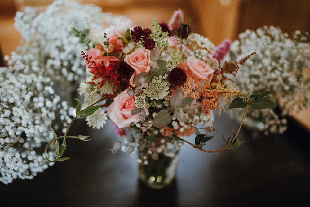 Bouquet Bride Bridal Flowers Peach Red Rose Astilbe Pimhill Barn Wedding Shrophire Leah Lombardi Photography