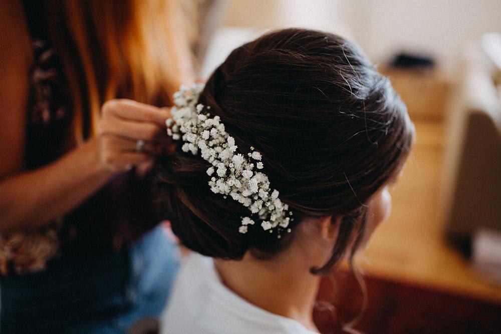 Hair Bride Bridal Up Do Style Flowers Gyp Gypsophila Pimhill Barn Wedding Shrophire Leah Lombardi Photography