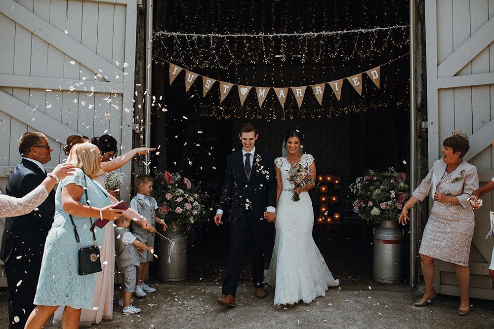 Confetti Throw Pimhill Barn Wedding Shrophire Leah Lombardi Photography