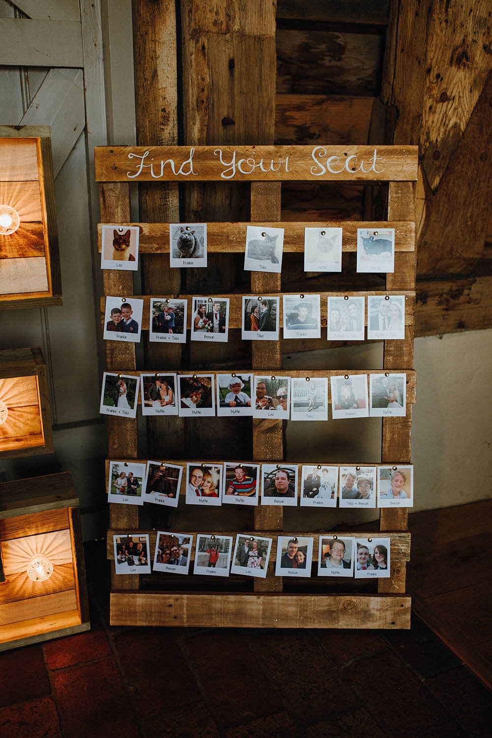 Wooden Pallet Seating Plan Table Chart Photos Polariods Pimhill Barn Wedding Shrophire Leah Lombardi Photography