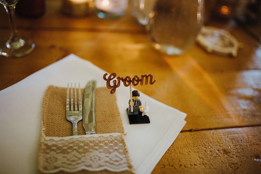 Place Name Setting Card Harry Potter Lego Mini Figure Pimhill Barn Wedding Shrophire Leah Lombardi Photography