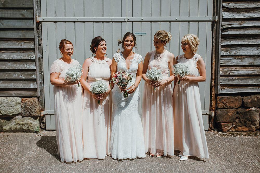 Long Maxi Pale Pink Bridesmaid Dresses Pimhill Barn Wedding Shrophire Leah Lombardi Photography
