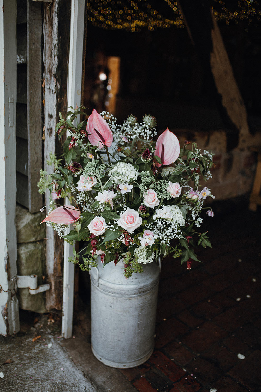 Milk Churn Flowers Pink Lilly Rose Greenery Gypsophila Pimhill Barn Wedding Shrophire Leah Lombardi Photography