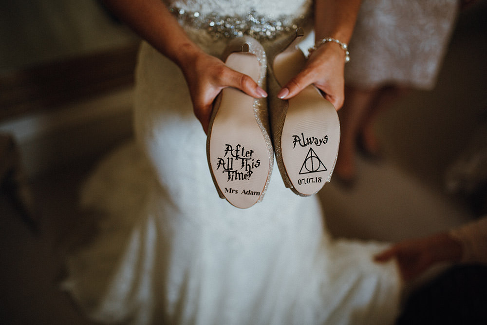Bride Bridal Harry Potter Shoes Quote Sole After All This Time Always Pimhill Barn Wedding Shrophire Leah Lombardi Photography
