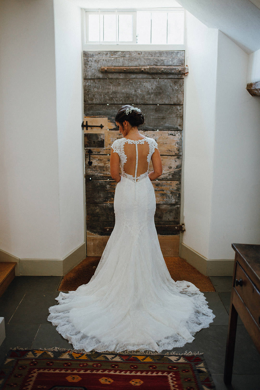 Dress Gown Bride Bridal Lace Illusion Back Buttons Sleeves Train Lillian West Pimhill Barn Wedding Shrophire Leah Lombardi Photography
