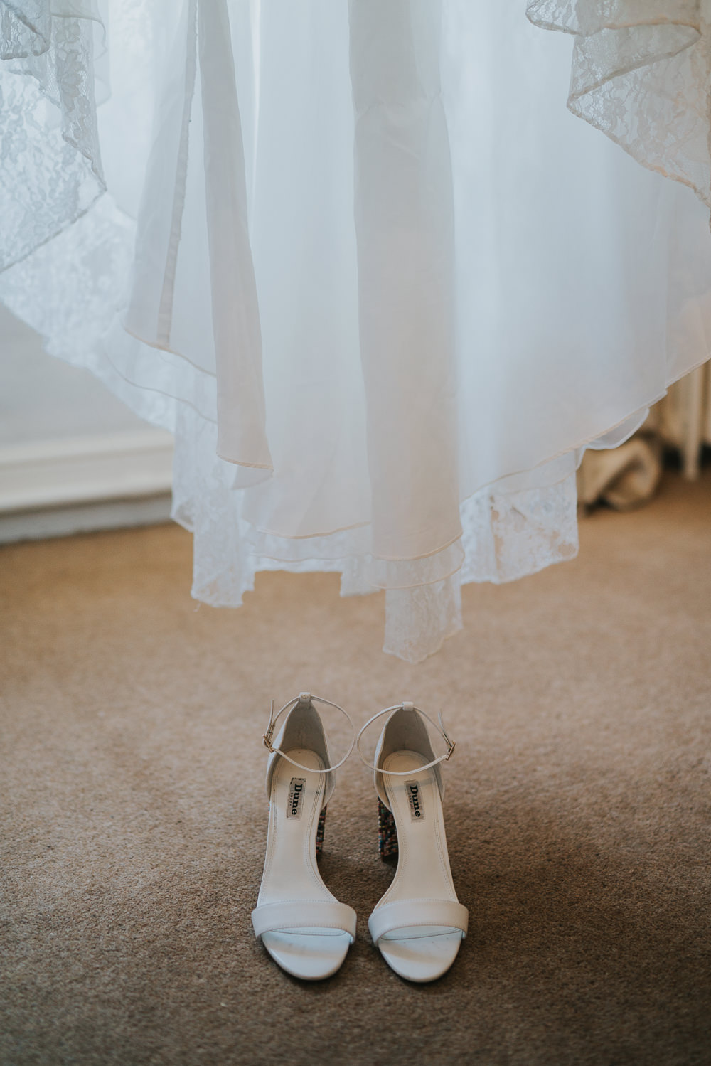 Outdoor Natural Relaxed Laid Back Summer White Dress Bridal Shoes Morning Bride Prep | Prested Hall Wedding Grace Elizabeth Photography