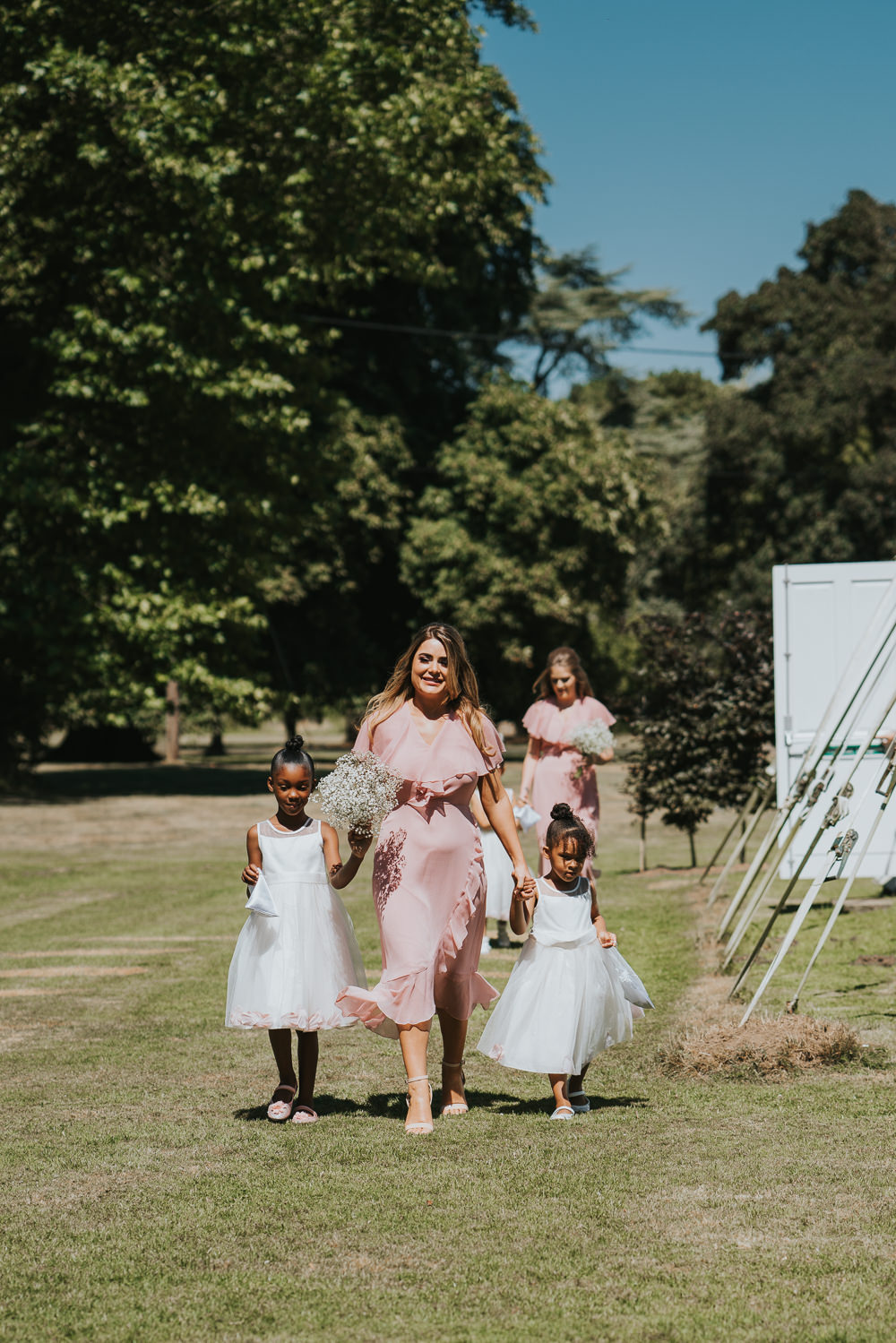 Outdoor Natural Relaxed Laid Back Summer Gypsophila Bouquets Blush Pink Bridesmaids Flower Girls | Prested Hall Wedding Grace Elizabeth Photography