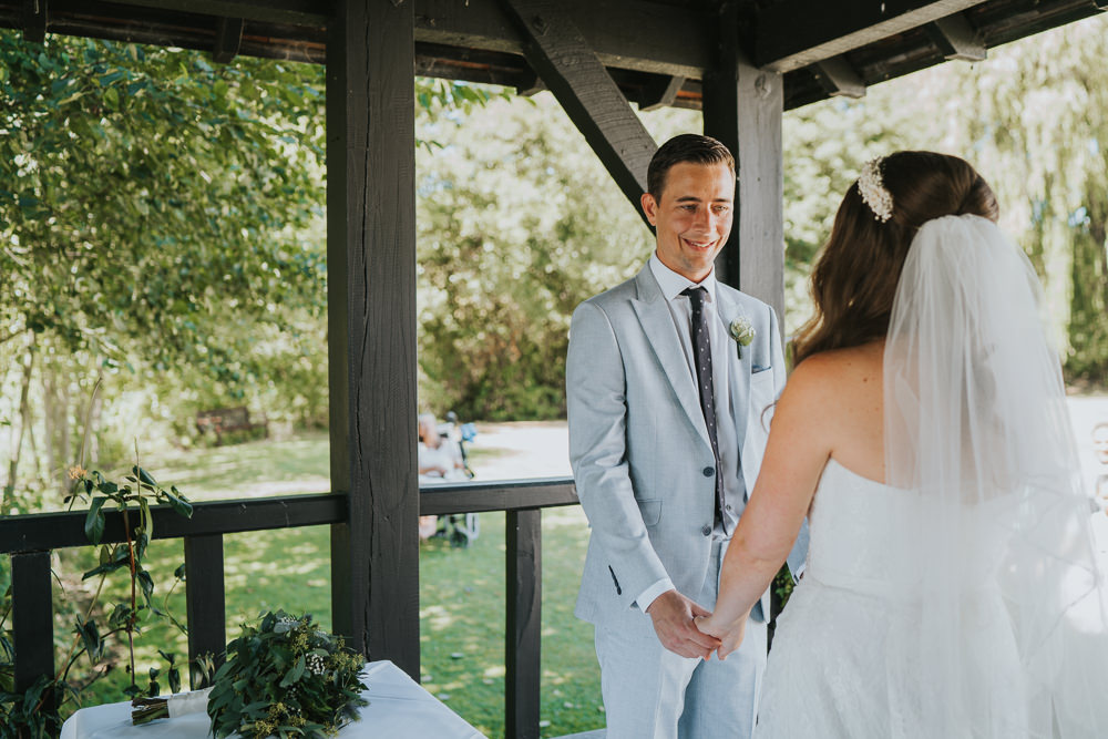 Intimate Outdoor Natural Relaxed Laid Back Summer Gazebo Ceremony Aisle Groom Bride | Prested Hall Wedding Grace Elizabeth Photography