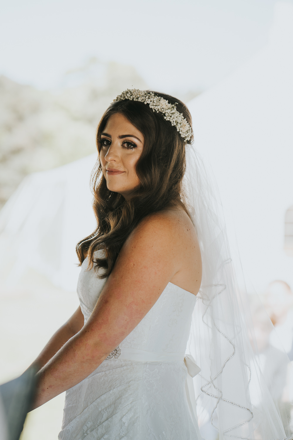 Intimate Outdoor Natural Relaxed Laid Back Summer Gazebo Ceremony Aisle Bride Gypsophila Crown | Prested Hall Wedding Grace Elizabeth Photography