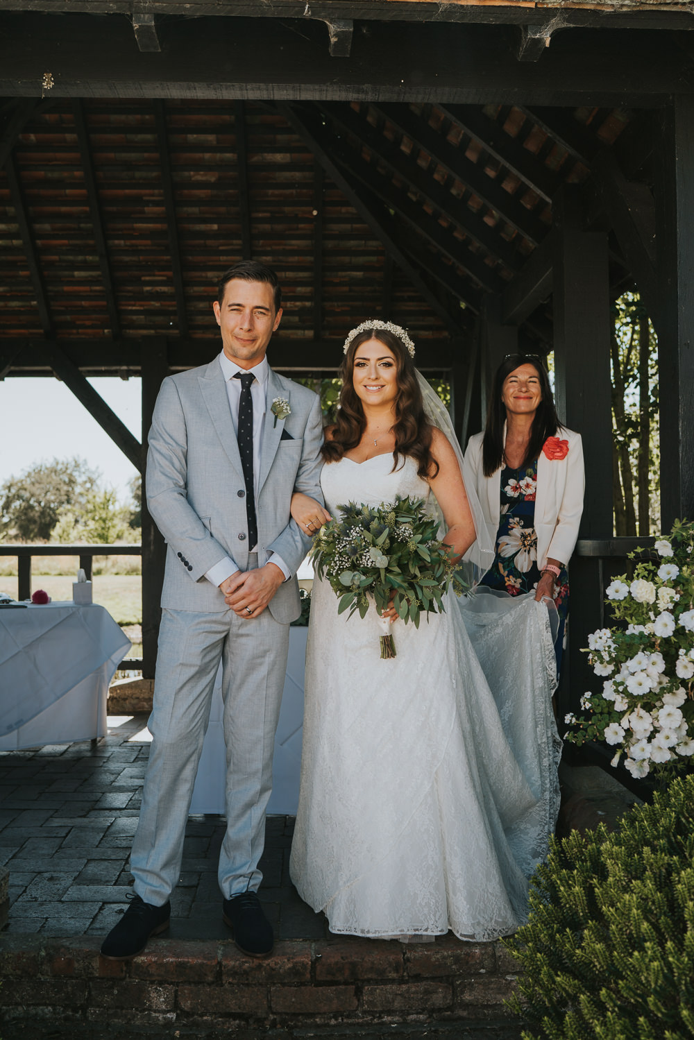Intimate Outdoor Natural Relaxed Laid Back Summer Gazebo Ceremony Aisle Groom Bride Foliage Greenery Bouquet | Prested Hall Wedding Grace Elizabeth Photography