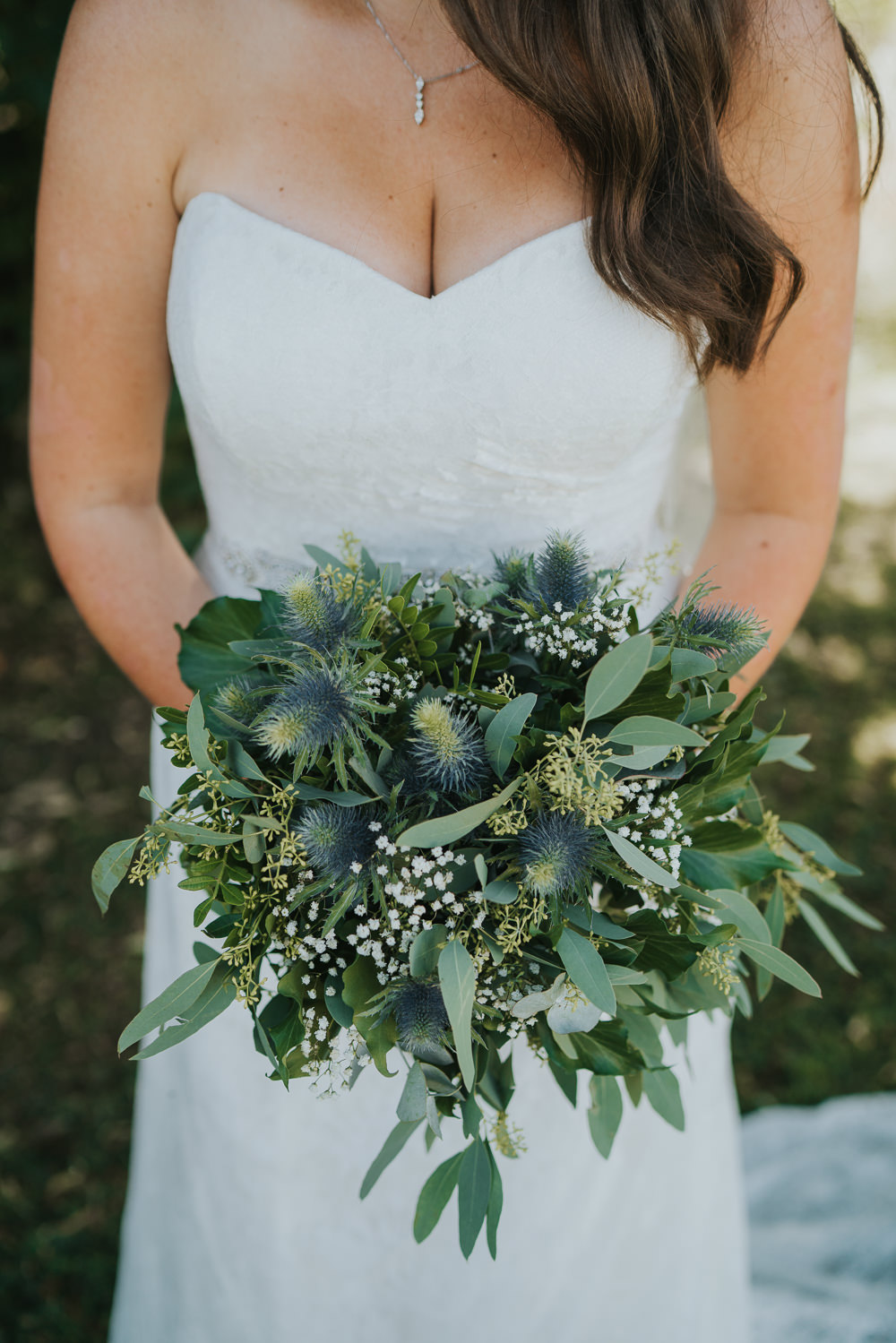 Intimate Outdoor Natural Relaxed Laid Back Summer Bride Sweetheart Dress Greenery Foliage Bouquet | Prested Hall Wedding Grace Elizabeth Photography