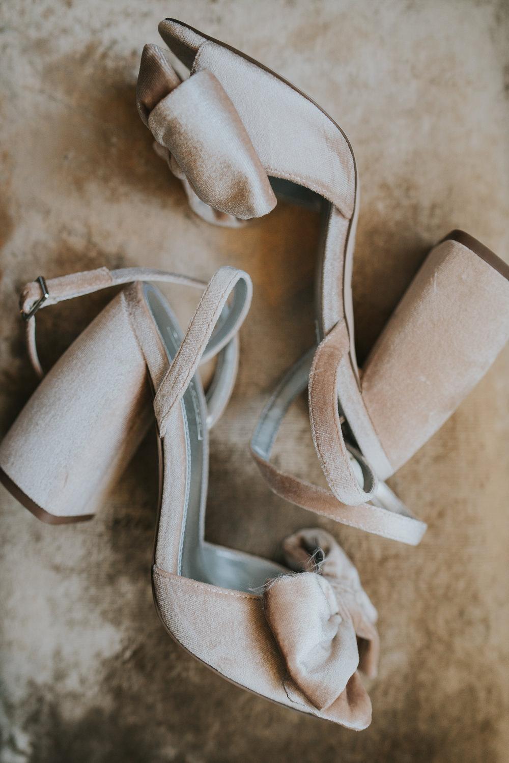 Outdoor Natural Relaxed Laid Back Summer White Dress Bridal Morning Prep Velvet Shoes | Prested Hall Wedding Grace Elizabeth Photography