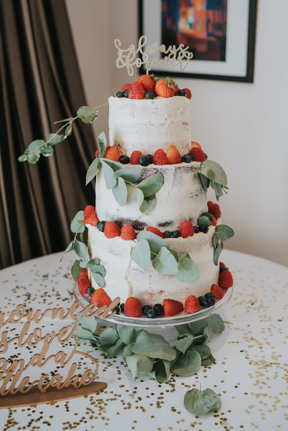Intimate Outdoor Natural Relaxed Laid Back Summer Drinks Reception Semi Naked Cake Fruit Eucalyptus | Prested Hall Wedding Grace Elizabeth Photography