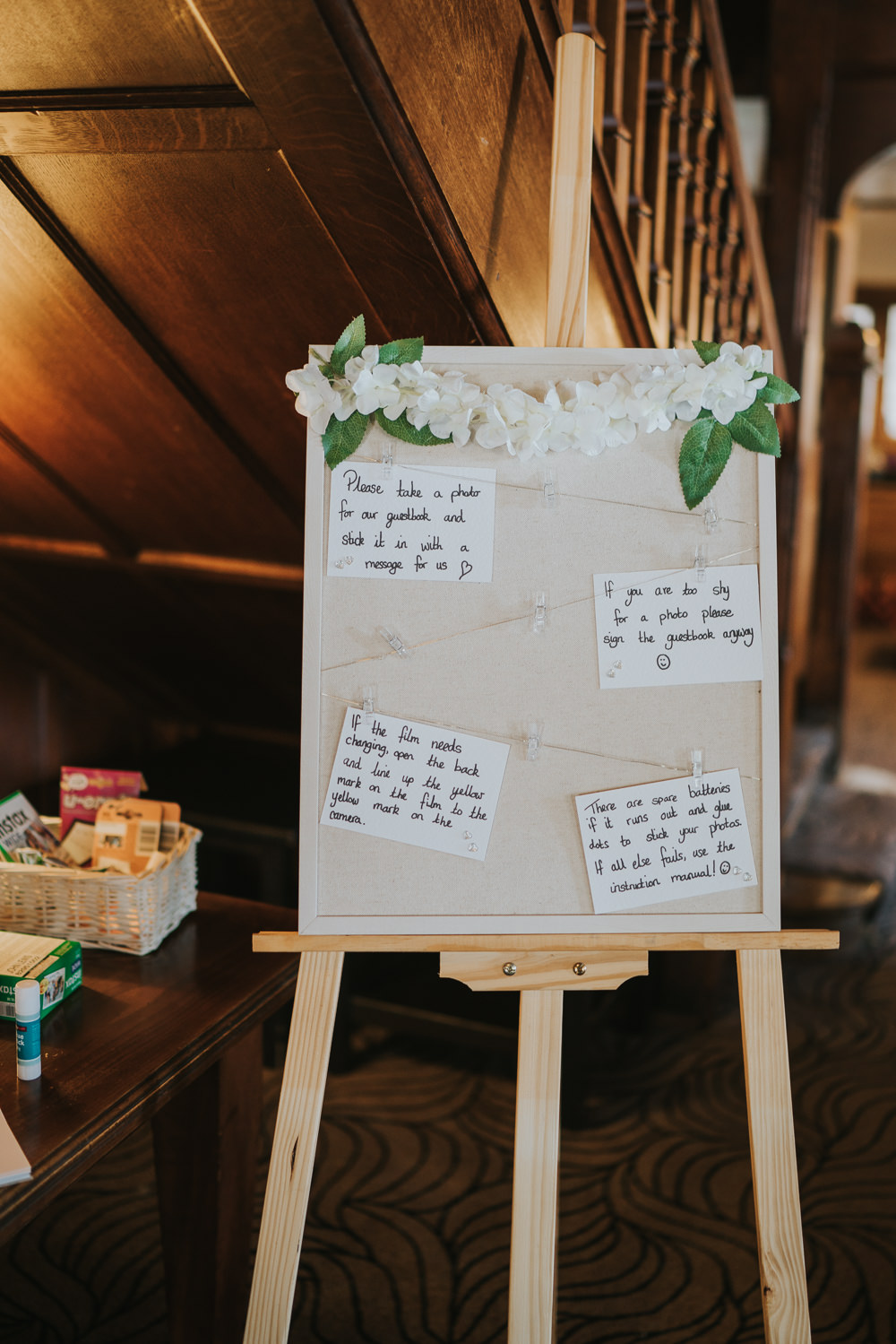 Intimate Outdoor Natural Relaxed Laid Back Summer Reception Instax Polaroid Frame Instructions | Prested Hall Wedding Grace Elizabeth Photography