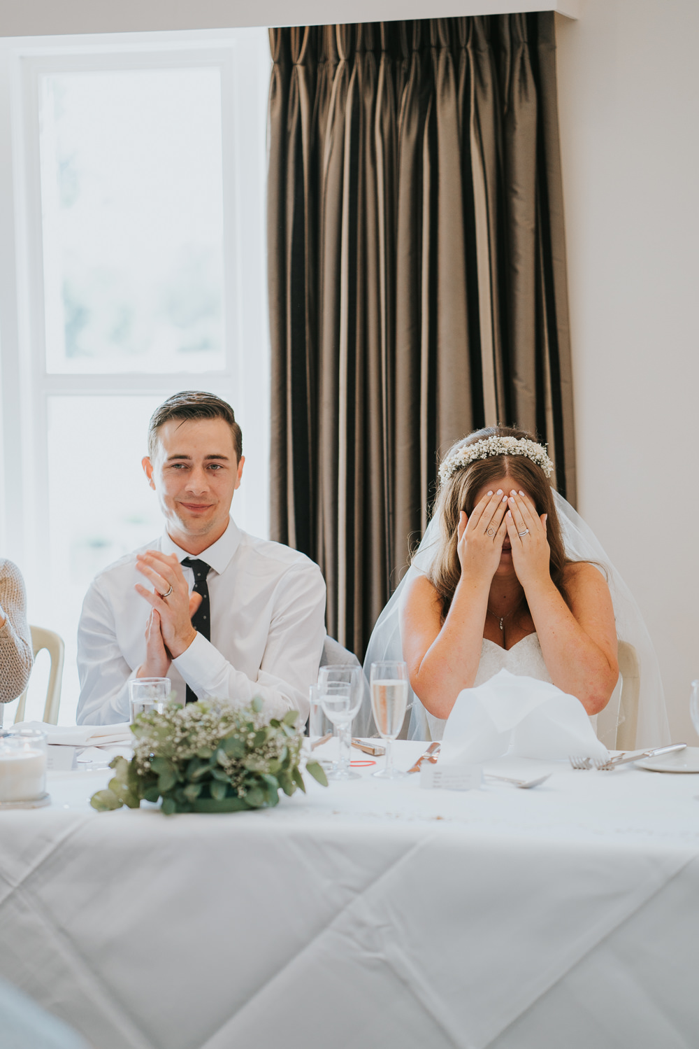 Intimate Outdoor Natural Relaxed Laid Back Summer Reception Dinner Speeches Bride Groom | Prested Hall Wedding Grace Elizabeth Photography