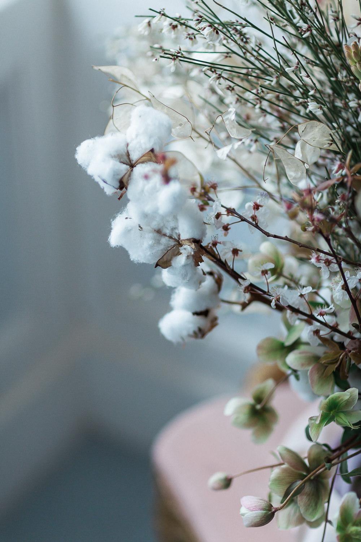 Modern Dance Ballet Inspired Fine Art Editorial Somerley House Wild Bridal Bouquet Cherry Blossoms Cotton Flowers Lunaria | Romantic Soft Wedding Ideas Siobhan H Photography