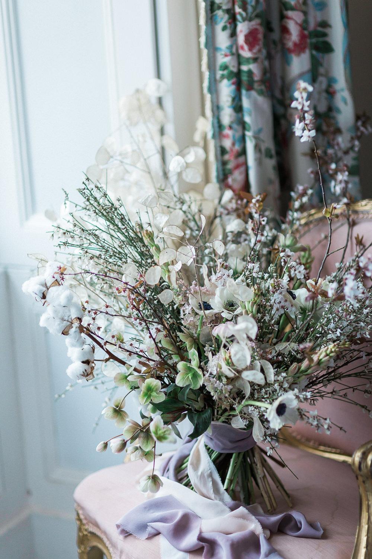 Modern Dance Ballet Inspired Fine Art Editorial Somerley House Wild Bridal Bouquet Cherry Blossoms Cotton Flowers Lunaria Lilac Pink Silk Ribbon | Romantic Soft Wedding Ideas Siobhan H Photography