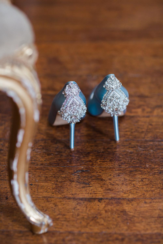 Modern Wabi Sabi Ballet Dance Inspired Editorial Blue Bridal Freya Rose Shoes Somerley House Mantelpiece | Romantic Soft Wedding Ideas Siobhan H Photography