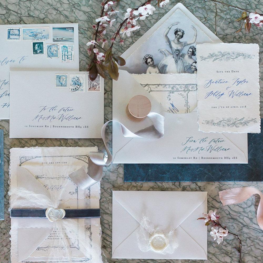 Modern Wabi Sabi Ballet Dance Inspired Editorial Fine Art Stationery Dusty Blue Cherry Blossoms | Romantic Soft Wedding Ideas Siobhan H Photography