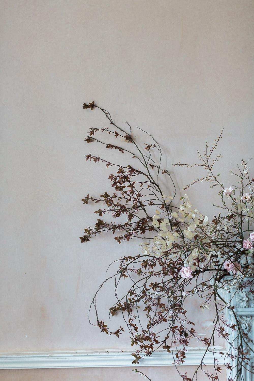Modern Dance Ballet Inspired Fine Art Editorial Somerley House Cherry Blossoms Lunaria Mantelpiece Floral Installation | Romantic Soft Wedding Ideas Siobhan H Photography