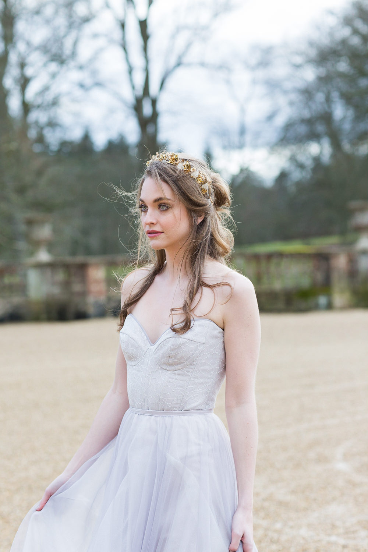 Modern Ballet Inspired Editorial Fine Art Somerley House Bride Lilac Dress Naomi Neoh Samantha Walden Gold Floral Headpiece Tiara | Romantic Soft Wedding Ideas Siobhan H Photography