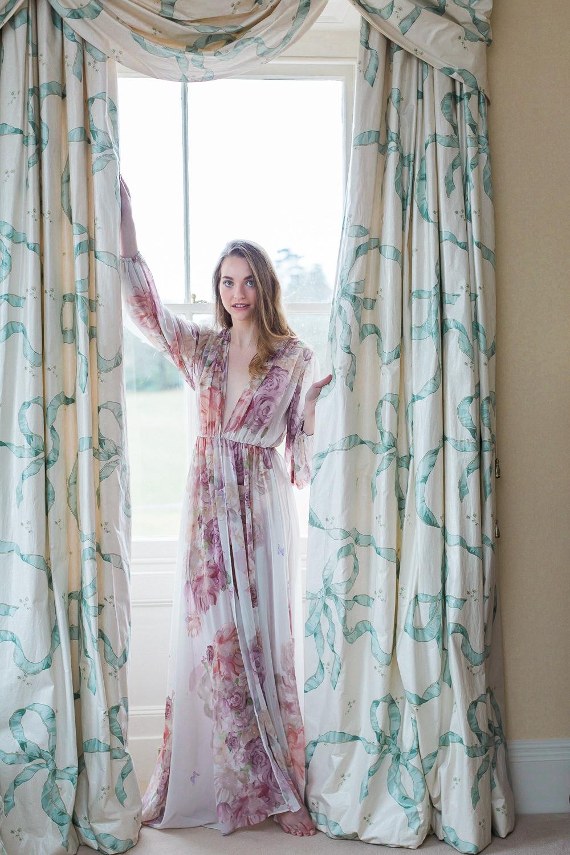 Modern Wabi Sabi Ballet Dance Inspired Fine Art Editorial Somerley House Morning Bridal Prep Floral Robe | Romantic Soft Wedding Ideas Siobhan H Photography