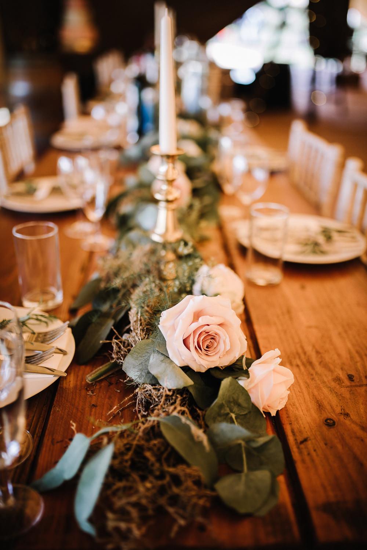 Table Decor Long Garland Swag Greenery Runner Foliage Alcott Weddings Oobaloos Photography