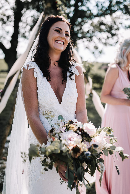 Bouquet Flowers Bride Bridal Blush Dahlia Thistle Ribbons Alcott Weddings Oobaloos Photography