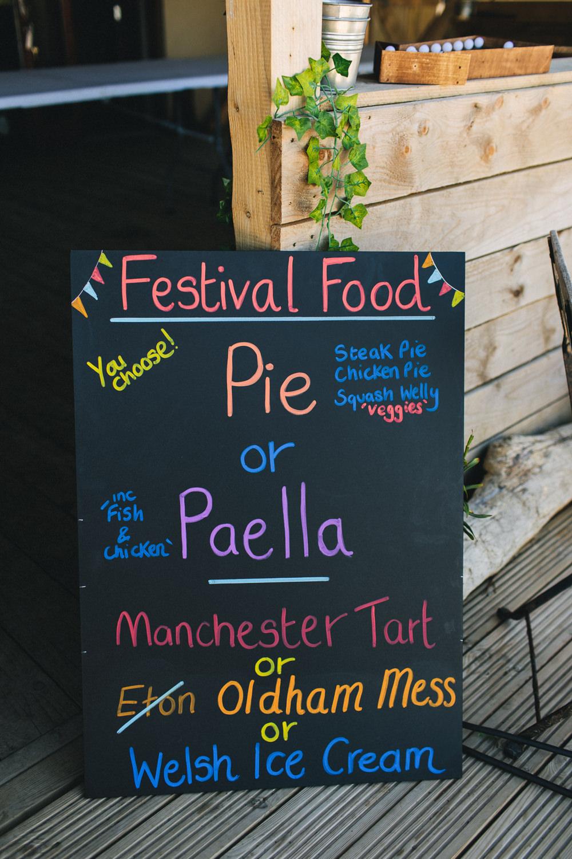 Festival Food Colourful Chalkboard Menu Bach Wen Farm Wedding Jessica O'Shaughnessy Photography