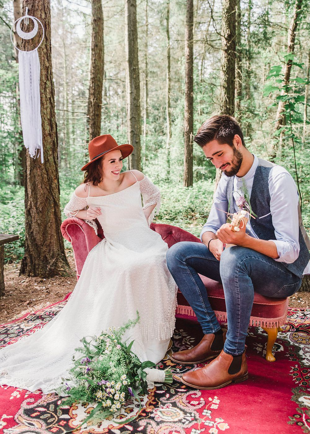 Persian Rug Outdoor Furniture Sofa Seating Boho Woodland Wedding Ideas Camp Katur Emily Olivia Photography