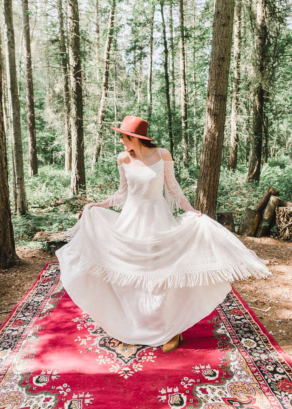 Fedora Hat Accessory Bride Bridal Gown Dress Fringed Tassel Bohemian Sleeves Train Boho Woodland Wedding Ideas Camp Katur Emily Olivia Photography
