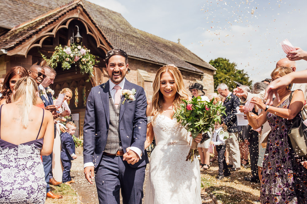 Bride Bridal Dress Overlay Veil Lace Strapless Off Shoulder Groom Three Piece Tweed Waistcoat Pink Tie Confetti Celestial Country Wedding Florence Fox Photography