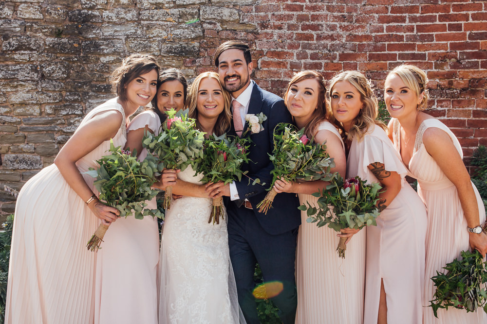 Bride Bridal Dress Overlay Veil Lace Strapless Off Shoulder Groom Three Piece Tweed Waistcoat Pink Tie Pink Blush Mismatched Bridesmaids Greenery Foliage Bouquet Celestial Country Wedding Florence Fox Photography