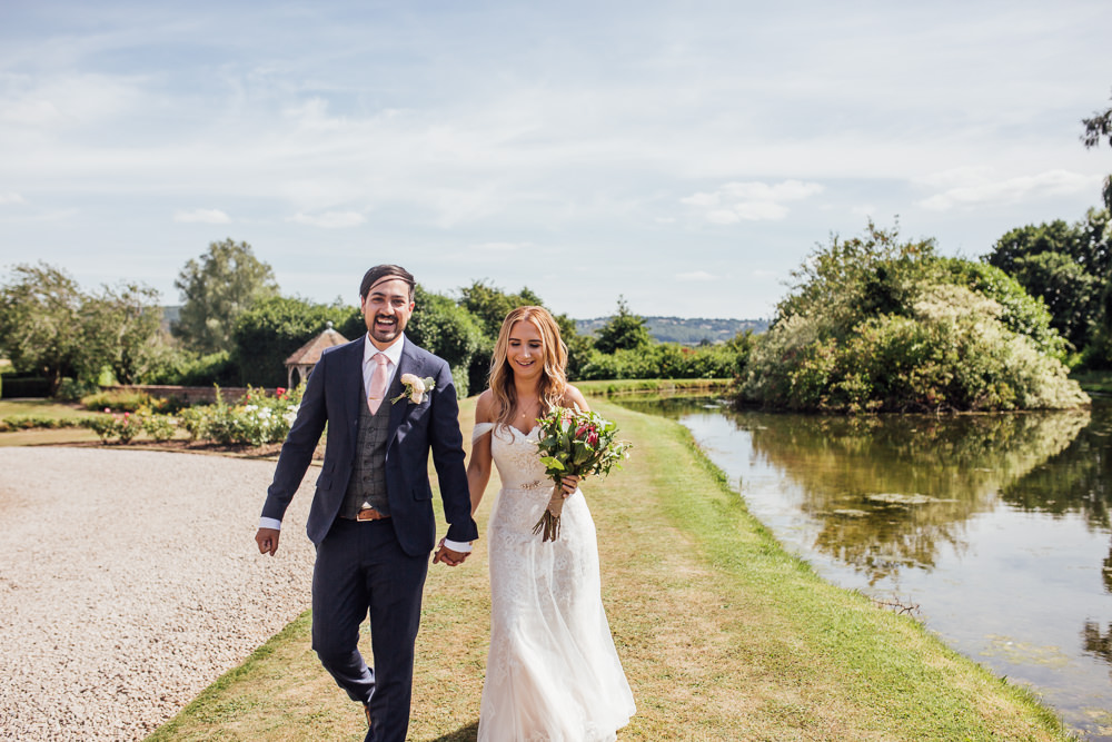 Bride Bridal Dress Overlay Veil Lace Strapless Off Shoulder Groom Three Piece Tweed Waistcoat Pink Tie Celestial Country Wedding Florence Fox Photography