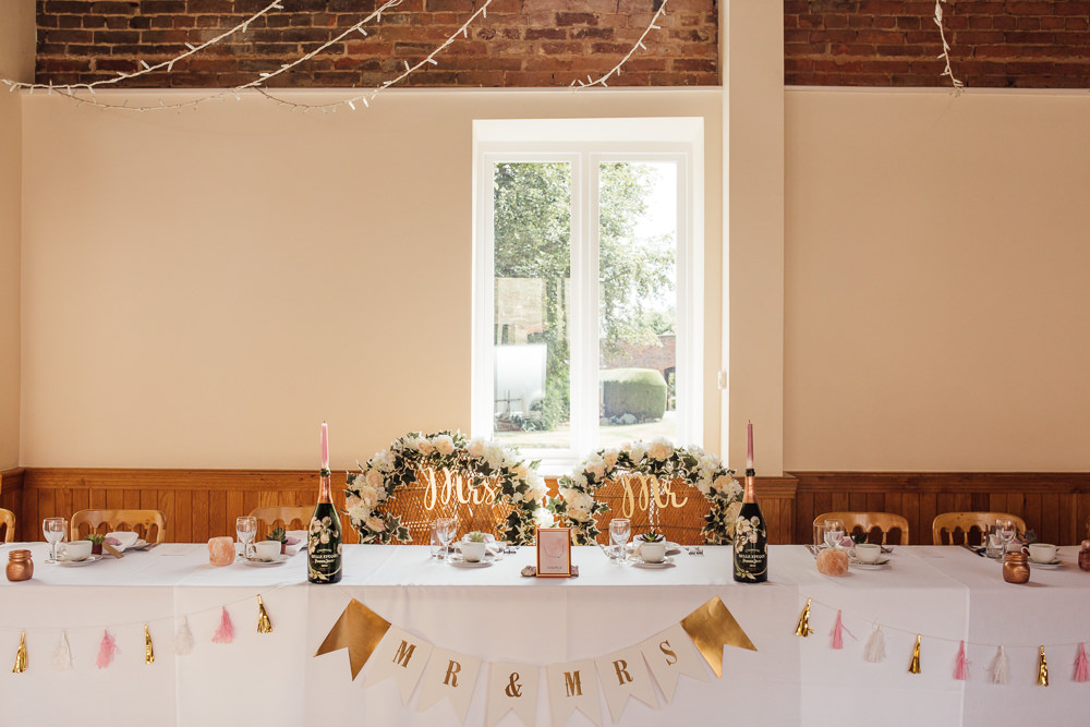 Top Table Mr & Mrs Bunting Tassels Floral Garland Celestial Country Wedding Florence Fox Photography