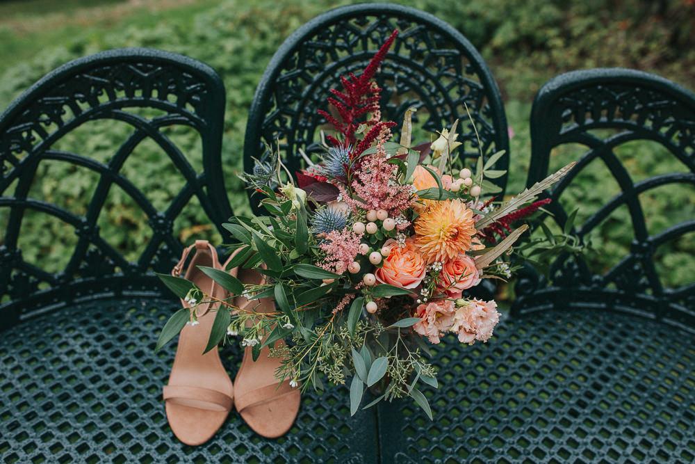 Bouquet Flowers Bride Bridal Orange Pink Dahlia Thistle Astilbe Rose Crab Lobster Wedding A Little Picture