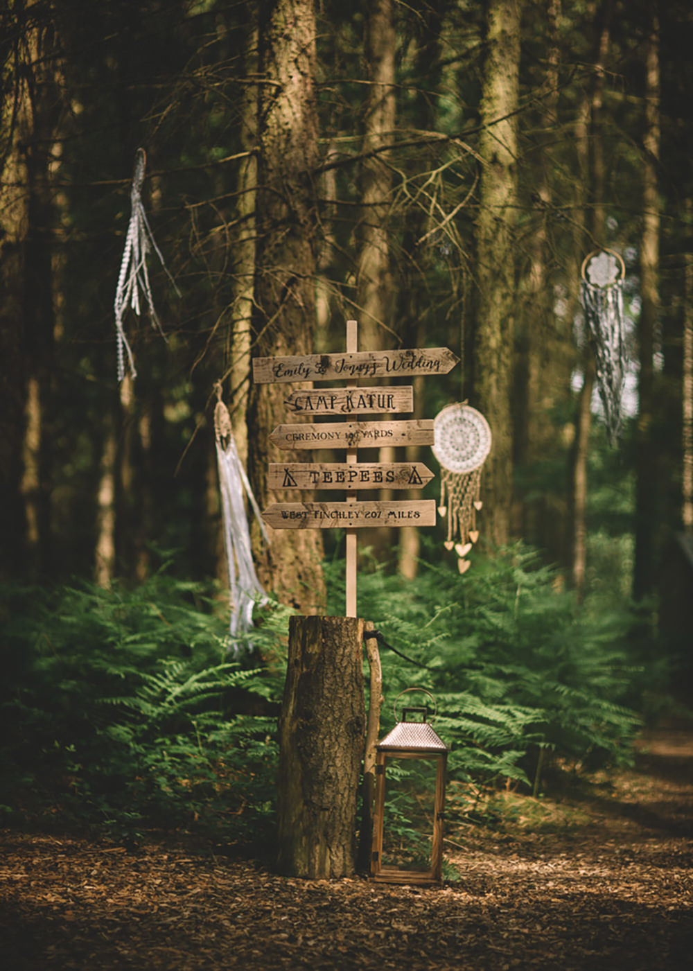 Dreamcatchers Wooden Sign Post Signage Free Spirited Wedding Ideas Woodland Lumiere Photographic