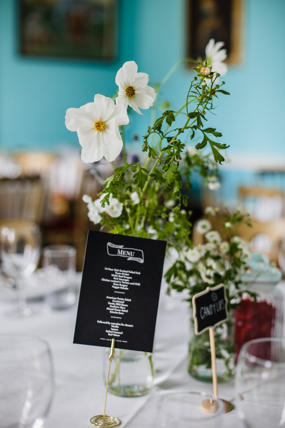 White Green Table Flowers Centrepicece Chalk Board Menu Fun Laughter Relaxed Wedding Chris Barber Photography