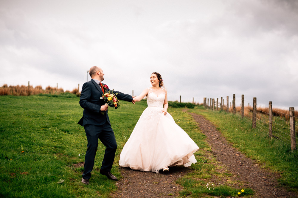 Bride Bridal Lace Tulle Full Skirt Sweetheart Illusion Navy Suit Orange Tie Groom Fun Quirky Colourful Wedding Fairclough Studios