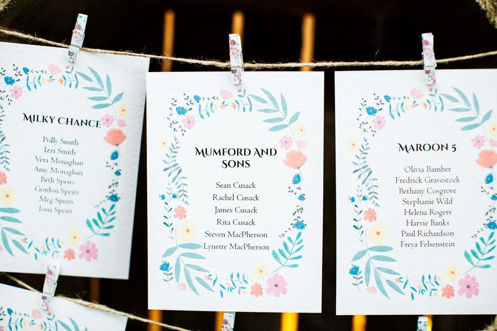 Table Names Bands Peg Twine Fun Quirky Colourful Wedding Fairclough Studios