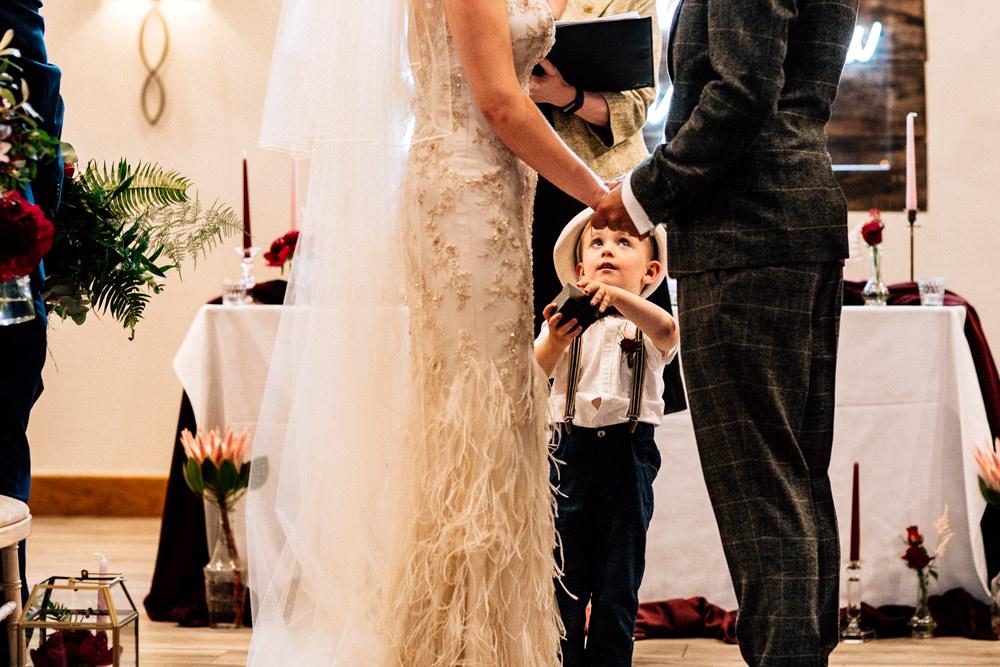 Page Boy Hat Bow Tie Braces Gamekeepers Inn Wedding Fairclough Studios