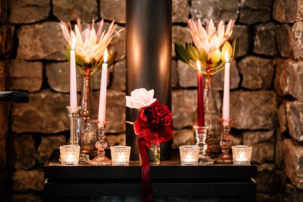 Candles Table Flower Decor Gamekeepers Inn Wedding Fairclough Studios