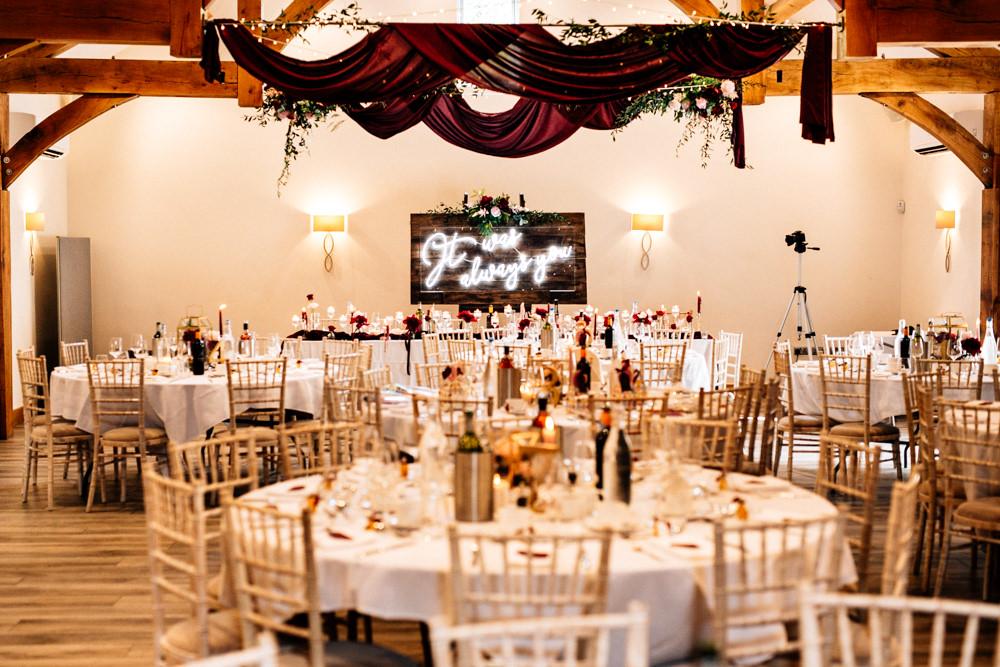 Burgundy Red Drapes Ceiling Fabric Fairy Lights Flowers Reception Gamekeepers Inn Wedding Fairclough Studios