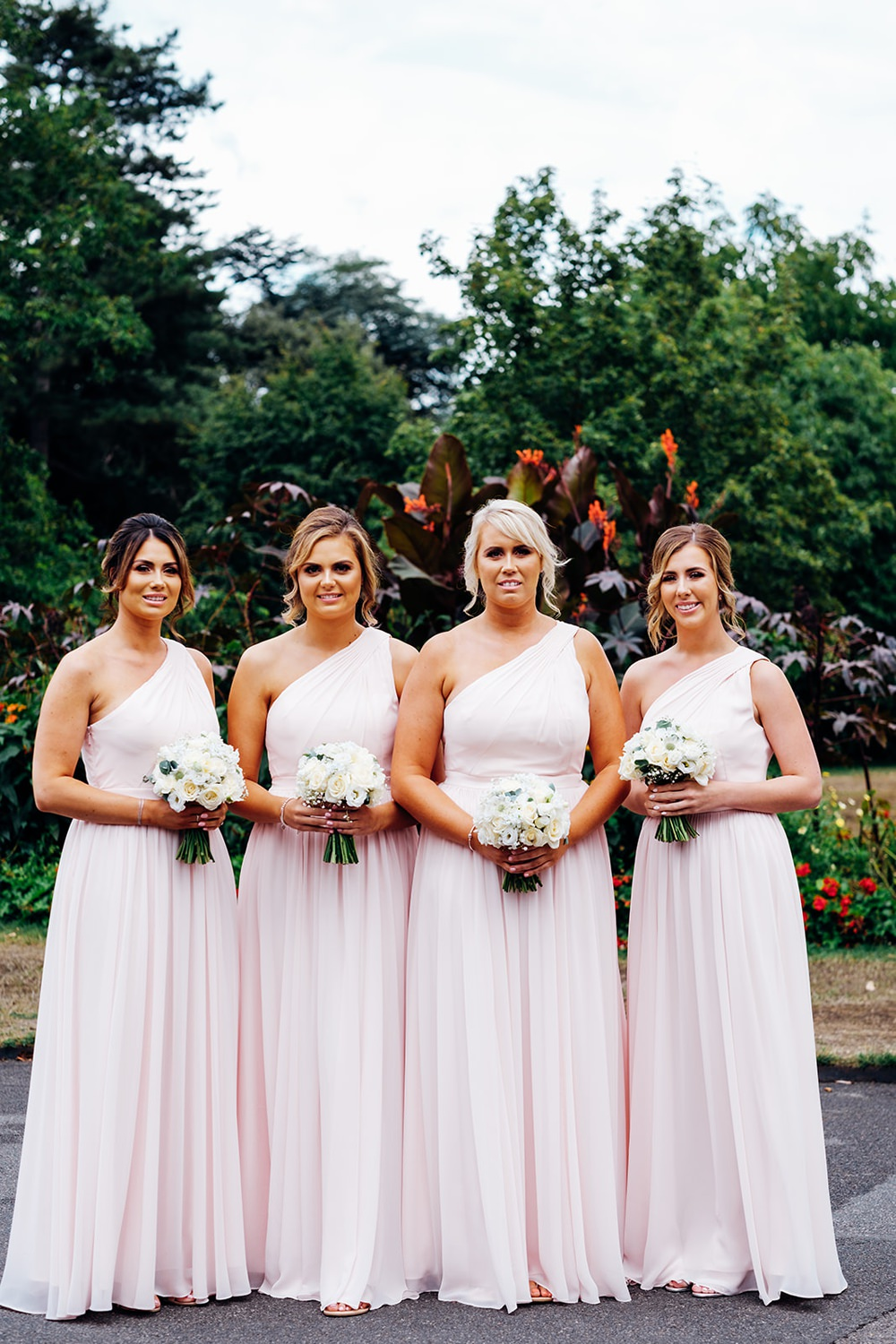 Bridesmaids Pink Blush One Shoulder Posy Bouquet Kew Gardens Wedding Marianne Chua Photography