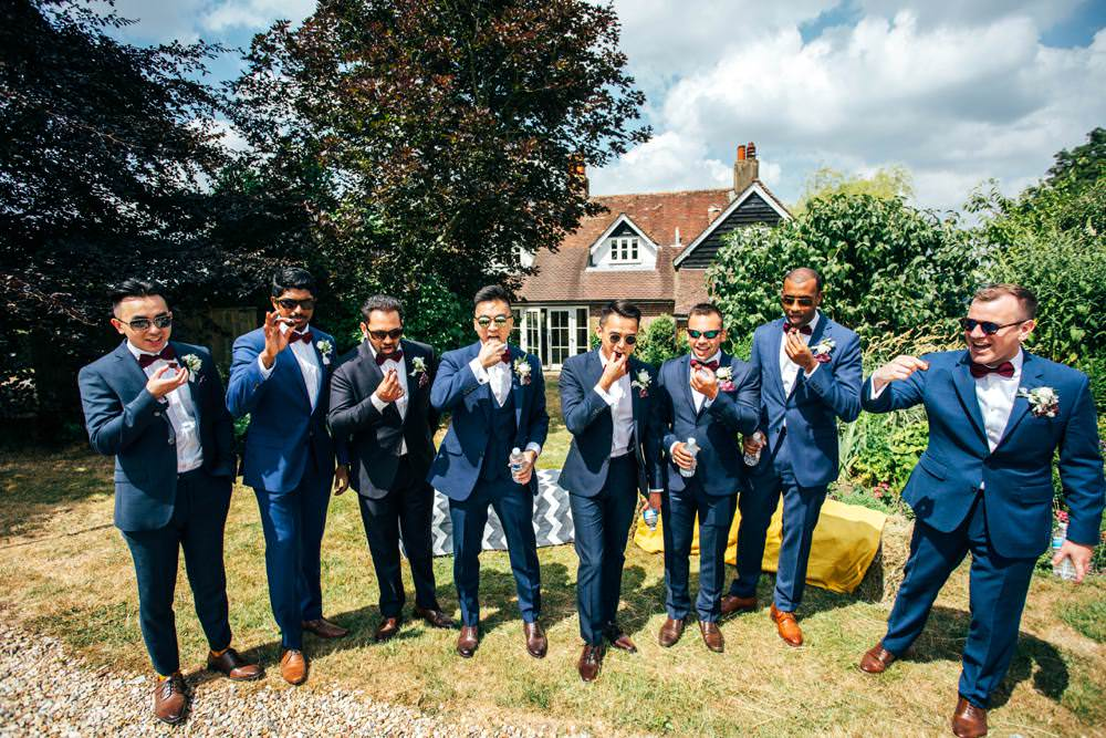 Groom Groomsmen Blue Suits Burgundy Bow Ties Long Barn Wedding Three Flowers Photography