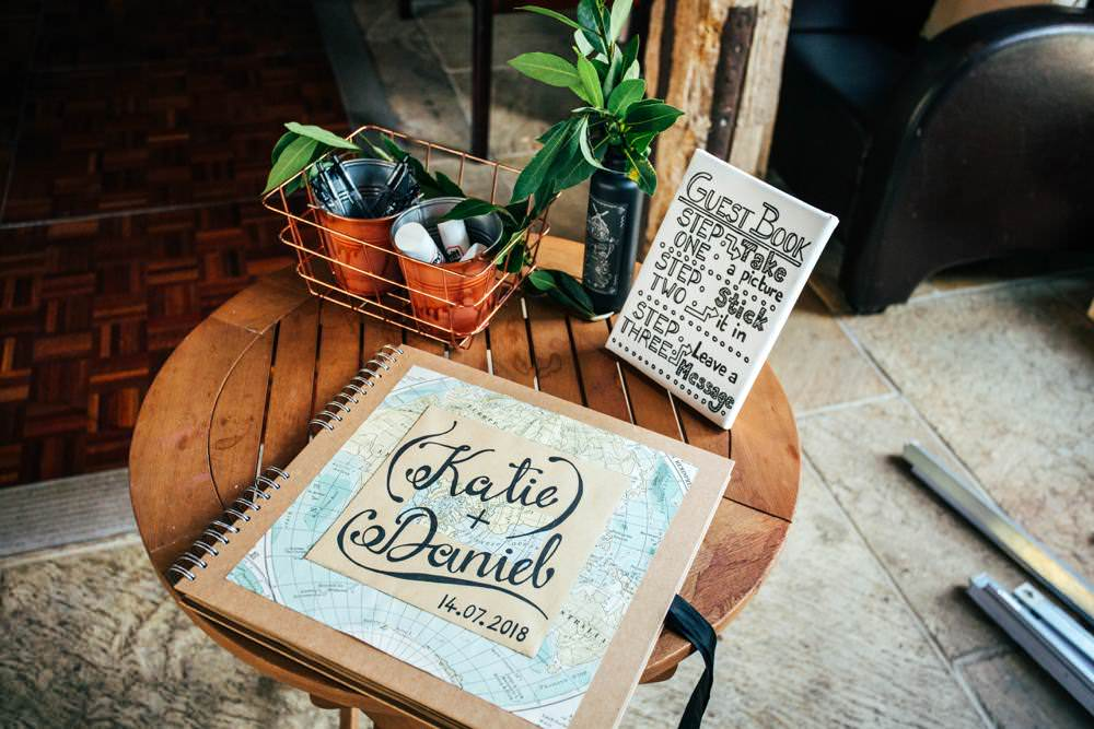 Travel Map Guest Book Long Barn Wedding Three Flowers Photography