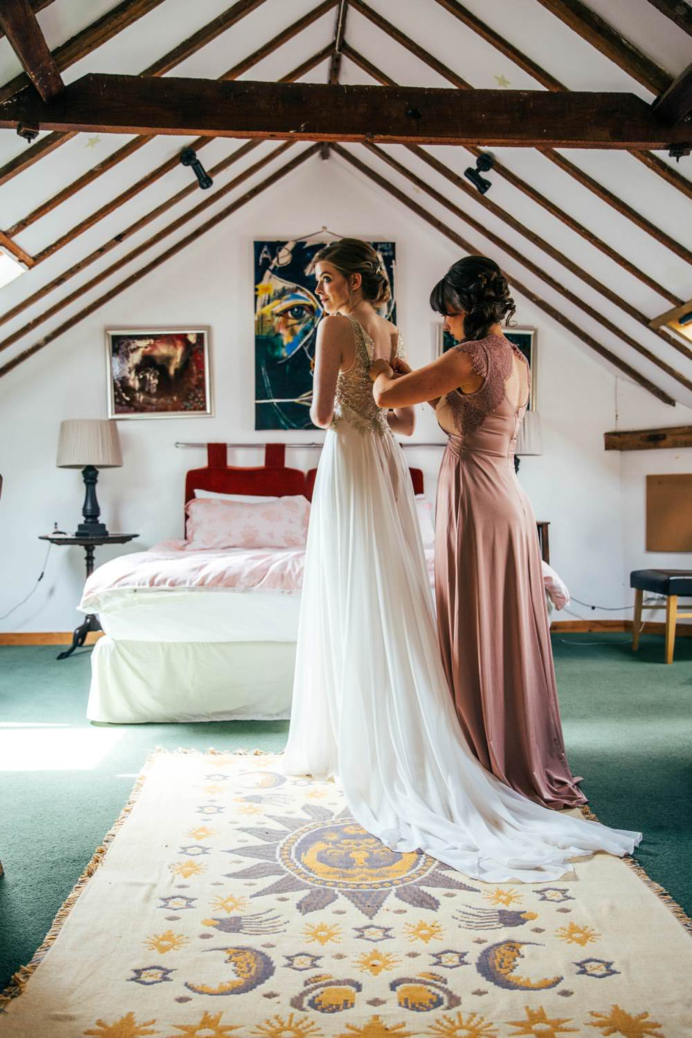 Dress Gown Bride Bridal Tulle Train Embellished Illusion Back Long Barn Wedding Three Flowers Photography