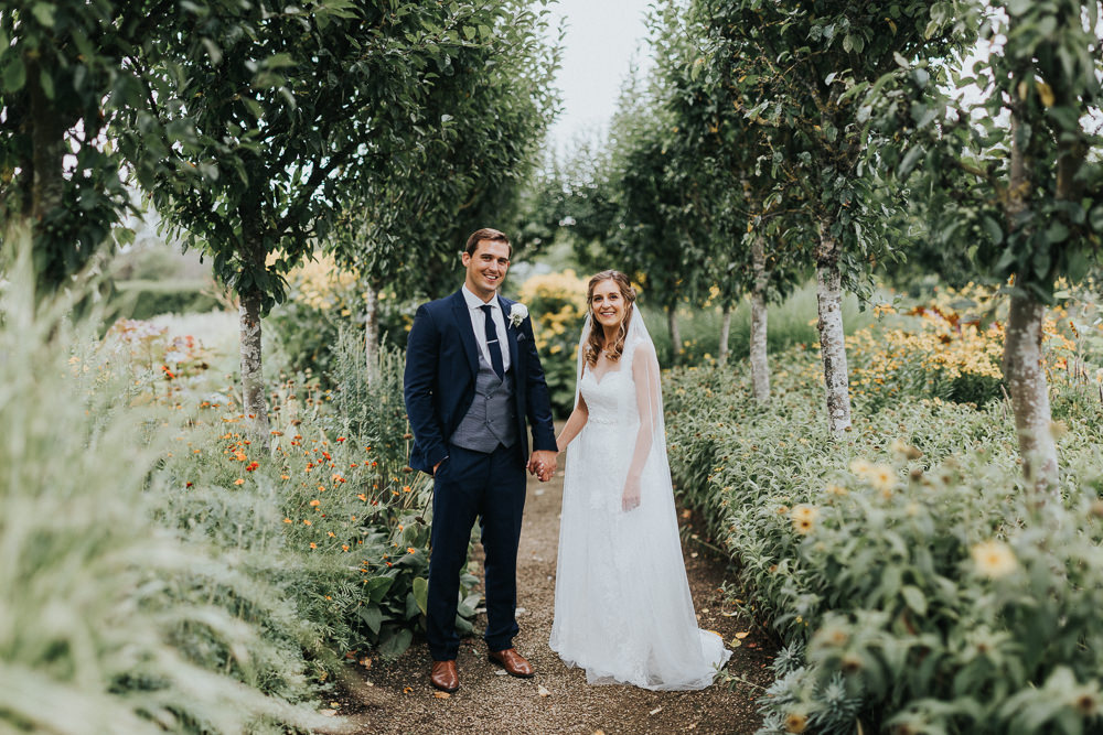 Bride Bridal Sleeveless Embroidered Three Piece Suit Navy Grey Waistcoat Groom Veil Loseley Park Wedding Kit Myers Photography